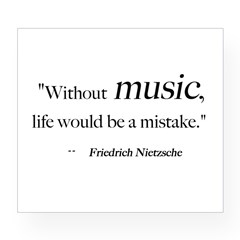 Without music, life is a mist Sticker (Rectangular Wine Label
