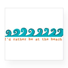 I'd rather be at the beach Rectangle Wine Label