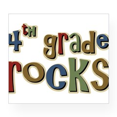 4th Grade Rocks Fourth School Sticker (Rectangular Wine Label