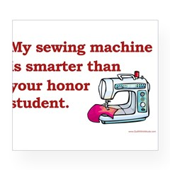 Sewing Machine/Honor Student Rectangle Wine Label