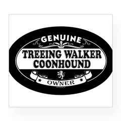 TREEING WALKER COONHOUND Oval Wine Label