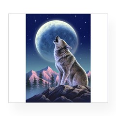 Howling Wolf 1 Rectangle Wine Label