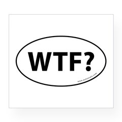 WTF? Auto Sticker -White (Oval) Wine Label