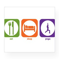 Eat Sleep Yoga Rectangle Wine Label