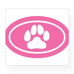 Pink Paw Print Oval Wine Label