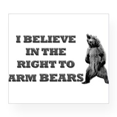 Right To Arm Bears Rectangle Wine Label