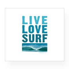Live, Love, Surf - Rectangle Wine Label