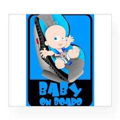 Baby Onboard - Blue Rectangle Wine Label