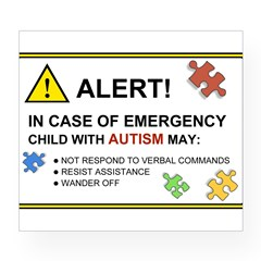 Autism Emergency Warning Sticker for Car Wine Label