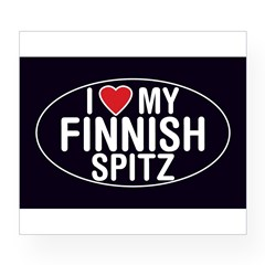 I Love My Finnish Spitz Oval Sticker/Decal Wine Label