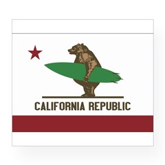 California Surfing Bear Flag Wine Label