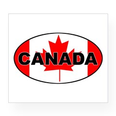 Canadian Flag Oval Wine Label