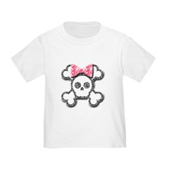Girl Skull and Crossbones Pink Bow Toddler T-Shirt