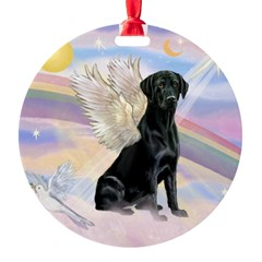 Black Lab Angel Round Ornament