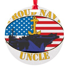 Proud Navy Uncle Round Ornament