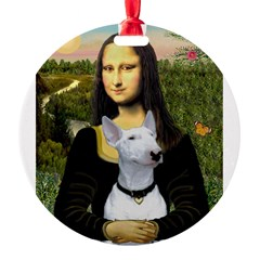 Mona Lisa /Bull Terrier Round Ornament