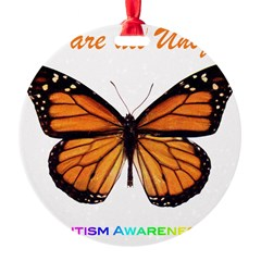 Butterfly: Autism Awareness Round Ornament