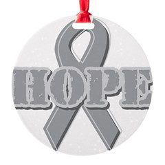 Silver Hope Ribbon Round Ornament