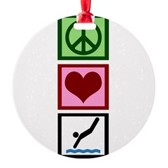 Peace Love Diving Round Ornament