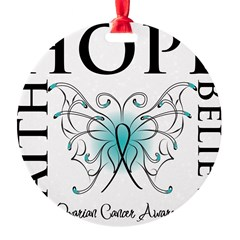 Ovarian Cancer Butterfly Round Ornament