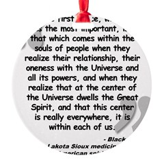 Black Elk Spirit Quote Round Ornament