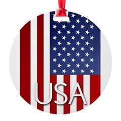 American Flag Round Ornament