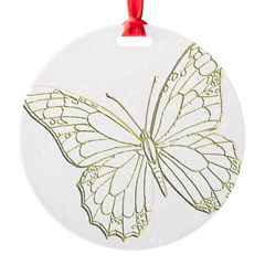 Embossed Butterfly Round Ornament