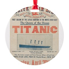 Titanic Advertising Card Round Ornament