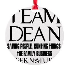 Team Dean Supernatural Winchester Round Ornament