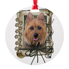 Fathers Day Stone Paws Aussie Terrier Round Ornament
