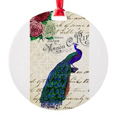 Vintage peacock collage Round Ornament