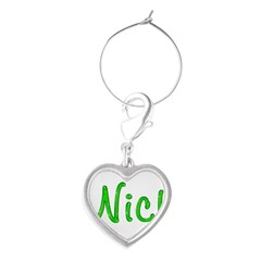 Nick Glitter Gel Large Heart Wine Charm