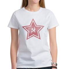 Red-Star-Faded-Blk Women's T-Shirt
