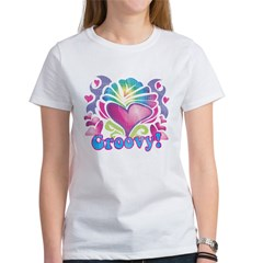 Hippie Groovy Heart Design Women's T-Shirt