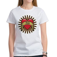 Father's Day Red Heart Dad Tattoo Women's T-Shirt