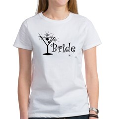 Black Curly Martini Bride Women's T-Shirt