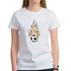 Soccer Ball & Flame Women's T-Shirt
