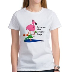 Flamingo on vacation with martini on Women's T-Shirt