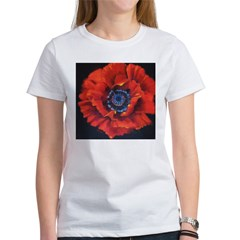 Red Poppy on Black Women's T-Shirt