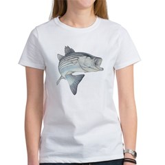 Lunker's Stripe Bass Ash Grey Women's T-Shirt