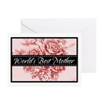 Pink Toile World's Best Mother Mom Greeting Cards
