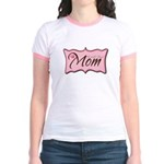 Pink World's Best Mom Plaque Jr. Ringer T-Shirt