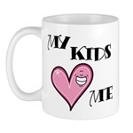 My Kids Love Heart Me Mom Teacher Mug