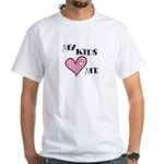 My Kids Love Heart Me Mom Teacher White T-Shirt