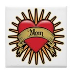 Red Heart Tattoo Mom Mother Tile Coaster