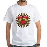 Red Heart Tattoo Mom Mother White T-Shirt