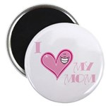 I Love Heart My Mom Mother's Pink Magnet