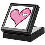 Pink Heart Cartoon Smile Smiley Keepsake Box