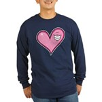 Pink Heart Cartoon Smile Smiley Long Sleeve Dark T