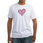 Pink Heart Cartoon Smile Smiley Fitted T-Shirt